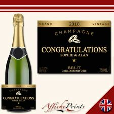 L63 Personalised Champagne Black Engagement Wedding Brut Bottle Label - Gift!
