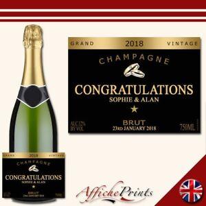 Personalised Champagne Label Black Engagement Wedding Brut Bottle Sticker Gift