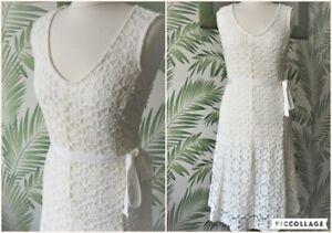 Vintage 1990s 90s Cream Lace lined midi Dress & Belt Size 10
