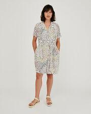 Oliver Bonas Women Dreamy Dot Animal Print White Mini Shirt Dress