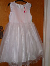 NEW TAG 11-13 YRS  GIRLS WHITE SLEEVELESS, CALF LENGH PARTY/ BRIDESMAID DRESS