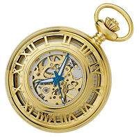 Gotham Men's Gold-Tone Mechanical Half-Hunter Pocket Watch with Chain