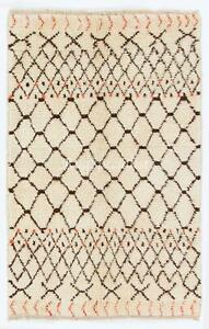 Contemporary Moroccan Rug, Natural Undyed Wool, Custom Options Available