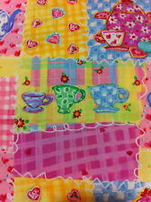 TEA PARTY PATCH 100 %COTTON FABRIC HALF YARD/SEWING SUPPLIES/QUILTING/HOME DECOR