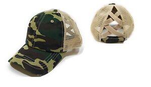 Adjustable Criss Cross Ponytail Hat Messy High Bun Womens Baseball Cap