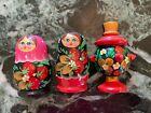 3 Russian Souvenir Fridge Magnets Matryoshka Samovar Handmade