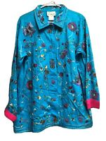 Quacker Factory Jacket Womens Medium Teal Pink Embroidered Beaded Unlined Floral
