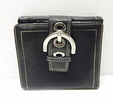Coach Wallet, Black Leather With Saddle Stitching