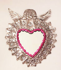Unique Mexican Tin Mirror Angel Heart Wall Hanging Ornament Hand Punched 04