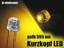 100 Stück LED 5mm straw hat gelb, Kurzkopf, Flachkopf 110°