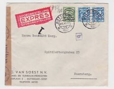 netherlands 1940 examined cover with three surch.stamps o430