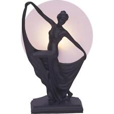 Art Deco Lamp, Black Table Lamp, Round Glass Shade, Lady Holding Skirt.