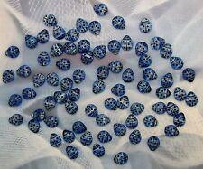 LOOSE CZECH PRESSED GLASS BEADS-BLUE SWIRL-STRIPED LADYBUGS-12 BEADS-FREE GIFT