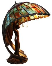 Beautiful Flying Lady Lamp, Tiffany Style Stain Glass, Tiger's Eye Wings, 26 in.