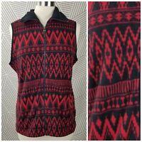 Chaps Womens Vest Medium Fleece Aztec Nordic Fall Winter Full Zip Front holiday