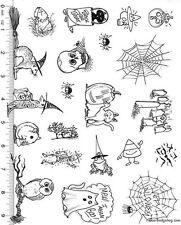 Full Sheet of Rubber # 74 Halloween Rubber Stamp Dies, Cat, Ferret, Frog, & MORE