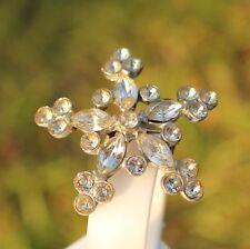 BROOCH  , vintage, star, snowflake, clear crystals ,  ,, ,, ,,