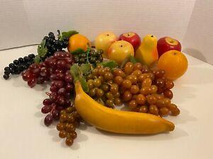Lot Artificial Fruit Grapes Banana Apples Pear Oranges Prop Food Replica Decor