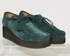 NWT Clarks Peggy Bee Moc Toe Dark Green Suede Comfort Wallabee Shoes Women's 7