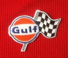 GULF LOGO OIL GAS GASOLINE CHEQUERED FLAG MOTOR RACING BADGE IRON SEW ON PATCH