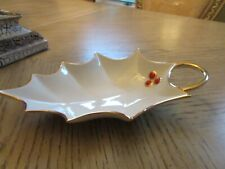 """Lenox China Holly Leaf Candy Dish Raised Berry Accent 9"""" Ivory W/Gold"""