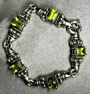 Lagos Caviar Emerald-Cut Apple Green Peridot Sterling Silver 18K Gold Bracelet