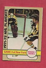 1972-73 OPC # 30 BOSTON / RANGERS GAMES 3 PLAYOFFS  EX-MT  CARD