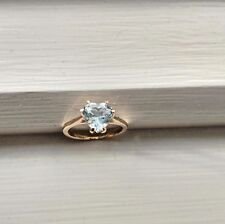 AQUAMARINE HEART SHAPE  6 PRONG RING 14K.Y.G. Size 5 1/2