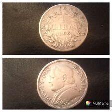 Moneta Argento Stato Pontificio 1 Lira 1868 Pio IX