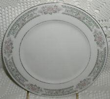 "Lynns Fine China Grace 7-1/2"" Salad/Dessert Plate Gray Pink Flower Silver Trim"