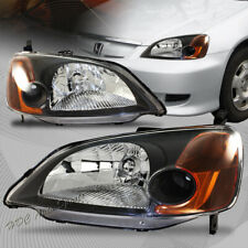 For 2001-2003 Honda Civic JDM Black Housing W/ Amber Reflector Headlights Lamps