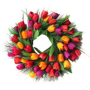 17.7inch Tulip Wreath Door Wreath, Artificial Flower Tulip Floral Twig Door