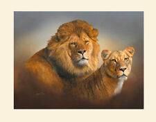 Original Lion and Lioness Painting by Robert J. May