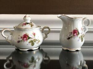 Vintage Porcelain China Sugar & Creamer w Lid - White w Flowers & Gold Trim