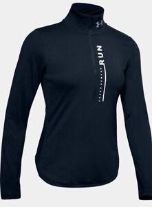 Under Armour Women's UA HeatGear Streaker Sweep ½ Zip Long Sleeve. Academy/White