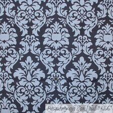 BonEful FABRIC FQ Cotton Quilt Gray White Flower Damask Stripe VTG Pattern Print