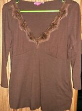 LIZ LANGER MATERNITY Brown Lace V-neck Bodice Top - Size Small 3/4 Sleeves