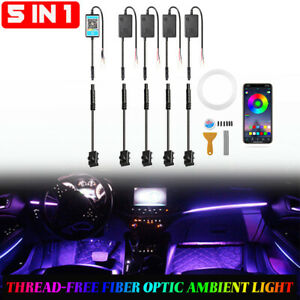 6M RGB LED Car Interior Lamp Ambient Light Strips App Control For Mercedes Benz