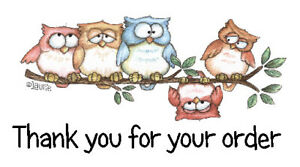 325 x THANK YOU FOR YOUR ORDER - ROW OF OWLS - STICKERS MATTE WHITE LABELS