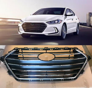 Silver Front Upper Bumper Grill Grille Replacement for Hyundai Elantra 2017 2018