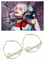 "1 Pair Suicide Squad Harley Quinn ""Damaged "" Round Big Earring Gift Cosplay Prop"