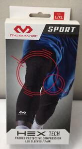 McDavid HEX TECH Padded KNEE Compression Leg Sleeve 1 Pair Sz Large / XL  (C33)