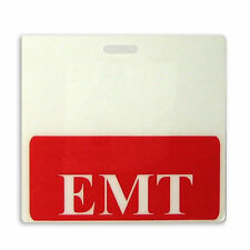 EMT Horizontal Badge Buddy - Red Border - Emergency Medical Technician ID Backer