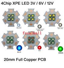 10W 3V/ 6V / 12V Cree XPE 4 Chips in 1 LED Light Emitter Bulb 20mm Copper PCB
