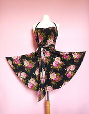 Betsey Johnson Dress Flare SILK 6 S M Floral Rose Swing 50s Pin Up VTG RARE!