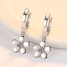 For Women 925 Silver Crystal Flower Drop Earrings Ear Buckle Girl Jewelry