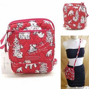 Vera Bradley Mini Hipster Beary Merry Red Polar Bear Crossbody Bag Purse NWT New
