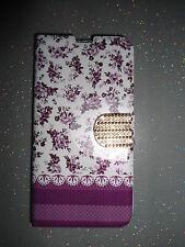 Etui portefeuille housse pour Samsung Galaxy S5 violet fleuri décoré NEUF !