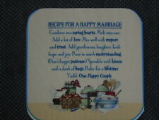 """6 fabric pieces 6.5""""x6.5"""" - """"RECIPE FOR A HAPPY MARRIAGE"""""""