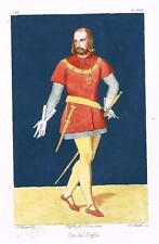 """Consoni's - """"CAVALIER DEL GIGLIO"""" -1836- Hand-Colored (Guache & Water Color)"""